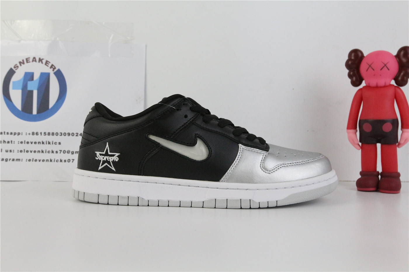 Supreme X Nike SB Dunk Low Black Metallic Silver